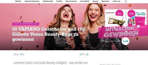 For me Gewinnspiel VAPIANO Gutscheine und Gilette Venus Beauty Bags