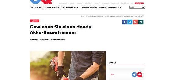 GQ Magazin Gewinnspiel Honda Akku-Rasentrimmer