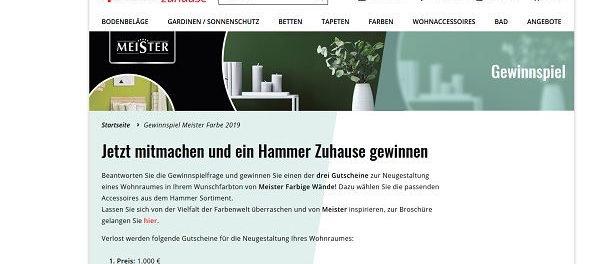 Hammer Heimtex Gewinnspiel Gutscheine gewinnen