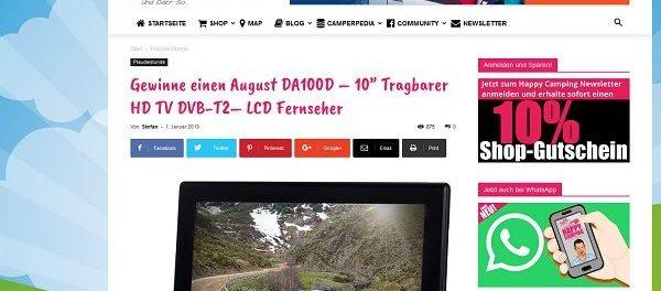 Happy Camping Gewinnspiel tragbarer LDC Fernseher HD TV DVB
