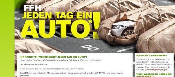 Hit Radio FFH Auto Gewinnspiel Jeden Tag ein Auto gewinnen