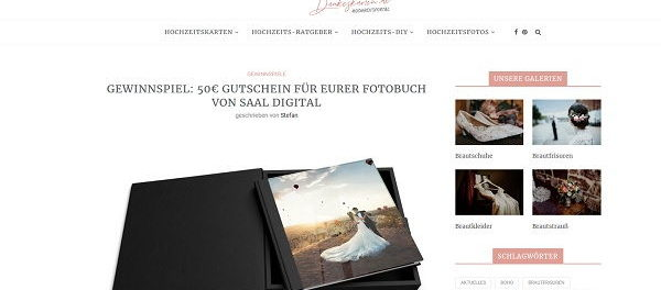 Hochzeit Dankeskarten Gewinnspiel Fotobuch Gutschein