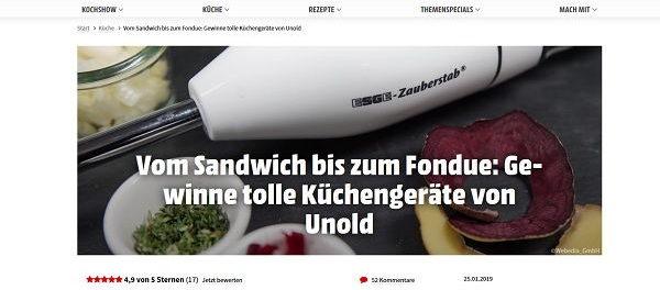 Koch Mit Gewinnspiel Unold Küchengeräte gewinnen