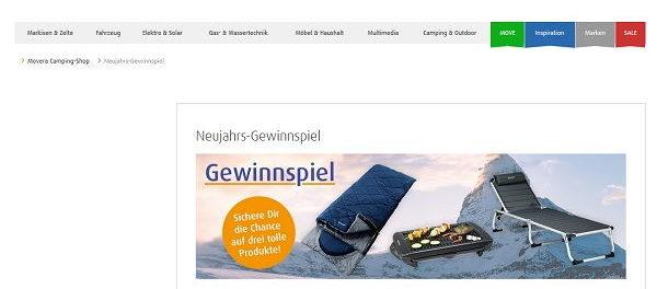 Movera Neujahrs-Gewinnspiel Liege Grill Schlafsack