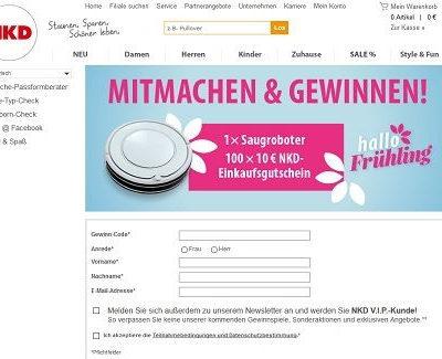 NKD Gewinnspiel Saugroboter und Gutscheine