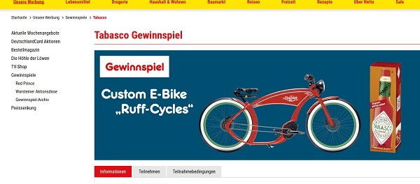 Netto Marken Discount Gewinnspiele Tabasco E-Bike