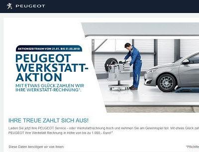 Peugeot Gewinnspiel 1.000 Euro Werkstattkosten Erstattung gewinnen