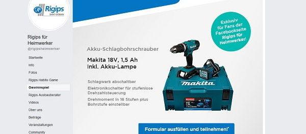 Rigips Gewinnspiel Makita 18V Akku-Schlagbohrschrauber