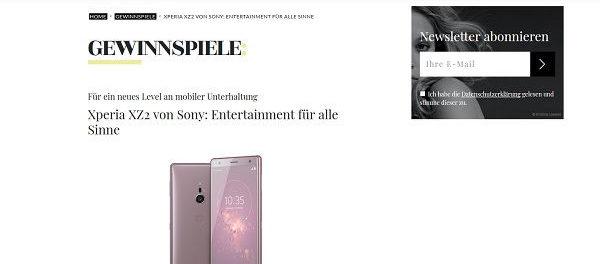 Smartphone Gewinnspiel Myself Sony Xperia XZ2