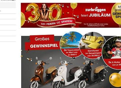 Zurbrüggen Jubiläums Gewinnspiel Reisen, Motoroller und Möbel