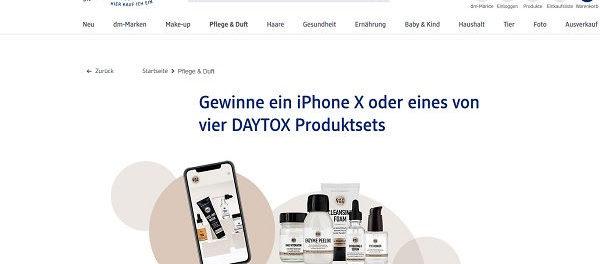 dm Drogerie Gewinnspiel Daytox Apple iPhone X und Produkte