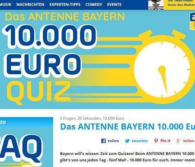 Antenne Bayern Gewinnspiel 10.000 Euro Quiz 2019