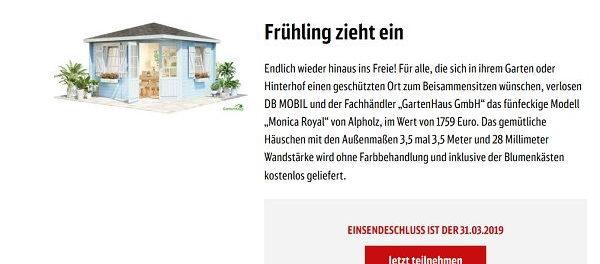 Gartenhaus Gewinnspiel DB Mobil Preisausschreiben