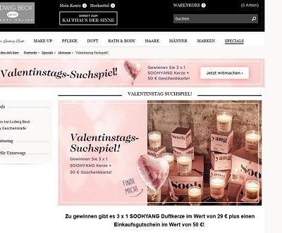 Ludwig Beck Valentinstag Gewinnspiel Gutscheine und Duftkerzen