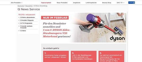 QVC Versand Gewinnspiel Dyson Akku-Staubsauger