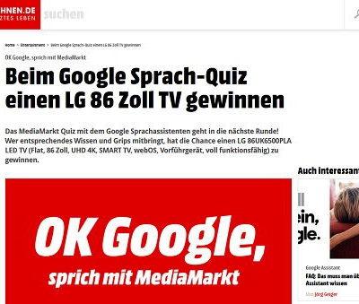 Smart Wohnen Gewinnspiel 86 Zoll LG Fernseher