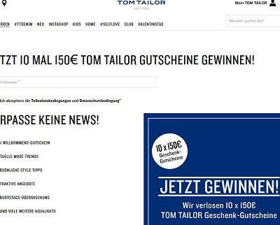 Tom Tailor Gewinnspiel Shoppinggutscheine Verlosung