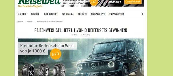 Billiger Mietwagen Gewinnspiel 3 Premium-Autoreifensets