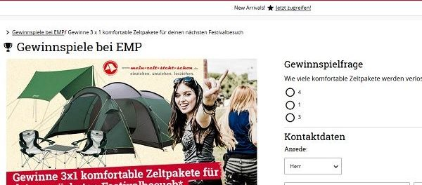 EMP Versand Gewinnspiel 3 Zeltpakete