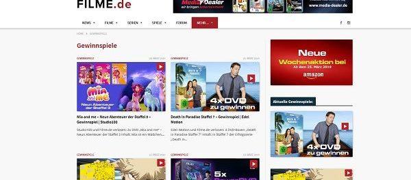 Filme.de Gewinnspiele zahlreiche DVDs und Fanartikel