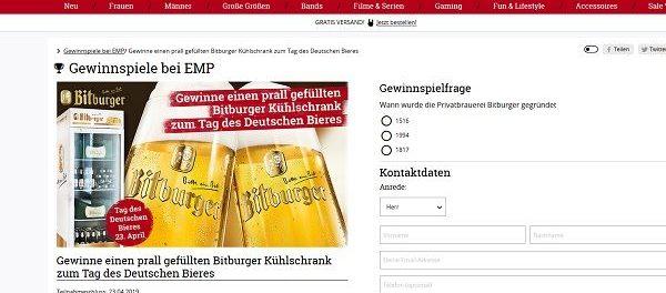 Gewinnspiele EMP und Bitburger Tag des Bieres