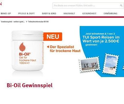 Gewinnspiele Rossmann Bi-Oil 2.500 Euro TUI Sport-Reisegutscheine