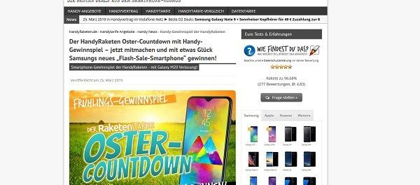 Handy Raketen Frühlings-Gewinnspiel Samsung Smartphone gewinnen