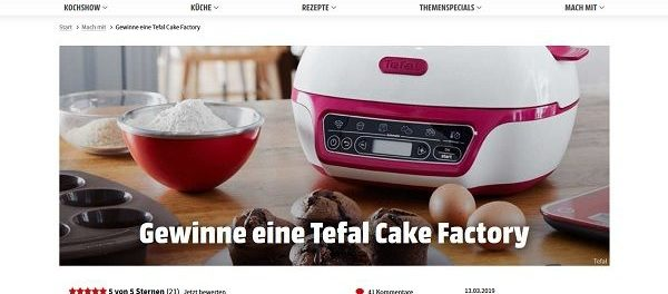 Koch Mit Gewinnspiel Tefal Cake Factory Kuchenbackautomat