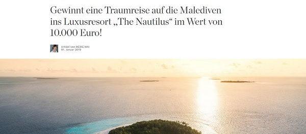 Malediven Reise Gewinnspiel Elle 10.000 Urlaub gewinnen