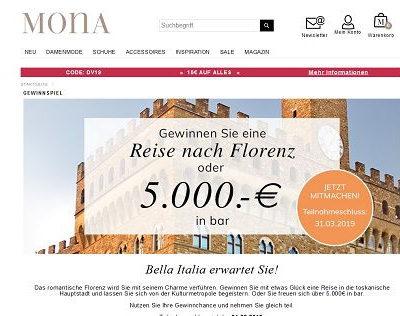 Mona Versand Gewinnspiel Reise oder Geld gewinnen