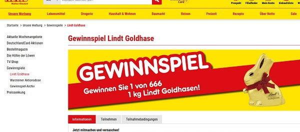 Netto Gewinnspiel Lindt Goldhasen