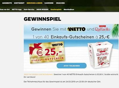 Netto und Raffaelo Gewinnspiel 40 Einkaufsgutscheine gewinnen