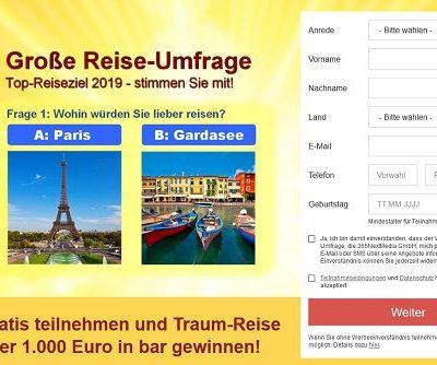 Reise-Umfrage Gewinnspiel Urlaub oder Geld gewinnen