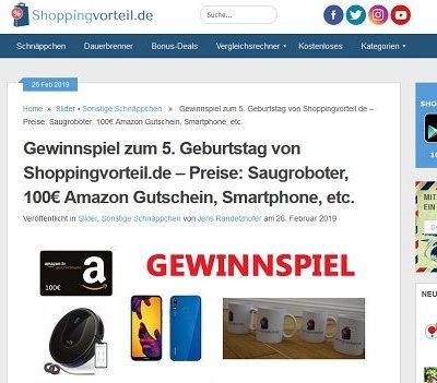 Shoppingvorteil Gewinnspiel Saugroboter, Smartphone, Amazon Gutschein