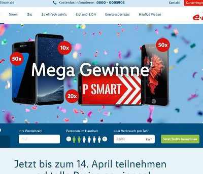 Smartphone Gewinnspiel Lidl-Strom verlost 130 Handys