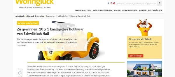 Wohnglück Gewinnspiel 10 gelbe Bobbycars