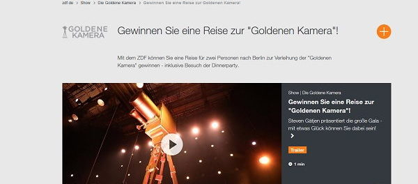 ZDF Gewinnspiel Reise Verleihung Golden Kamera 2019