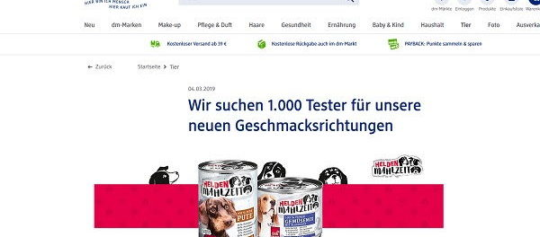 dm drogerie Gewinnspiel 1.000 Heldenmahlzeit Hundefutter Tester
