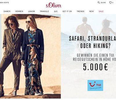 s.Oliver Gewinnspiel 5.000 Euro TUI Reisegutschein