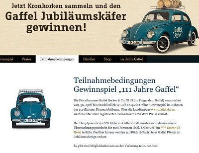 Auto-Gewinnspiel Gaffel Kronkorkenaktion VW Käfer Oldtimer