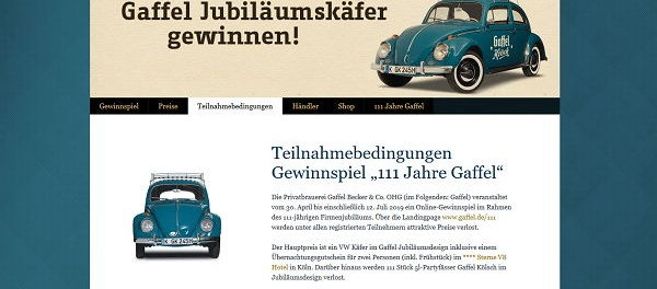 Auto-Gewinnspiel Gaffel Kronkorken Aktion VW Käfer Oldtimer