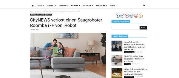 CityNews Gewinnspiel iRobot Saugroboter Roomba i7+