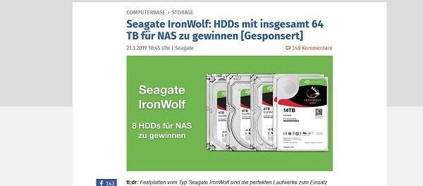 Computer Base Gewinnspiel Seagate NAS Festplatten