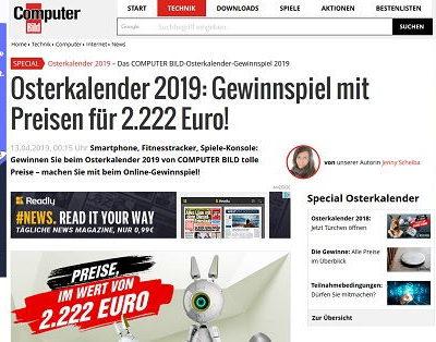 Computer Bild Osterkalender Gewinnspiel 2019