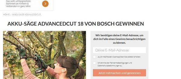 Cosmopolitan Gewinnspiel Bosch Akku Astsäge