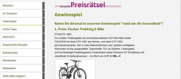 E-Bike Gewinnspiel Pfalz Magazin