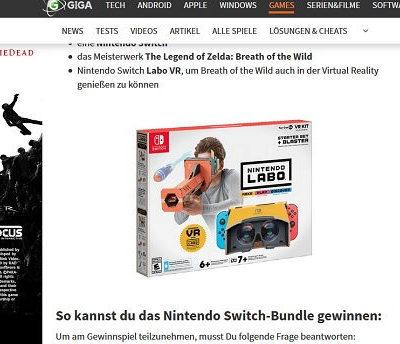 Giga Gewinnspiel Nintendo Switch-Bundle
