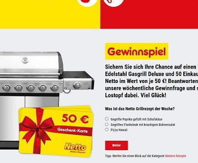 Netto Gewinnspiel Edelstahl Grill und Einkaufsgutscheine