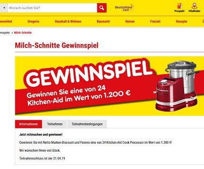 Netto Milchschnitte Gewinnspiel KitchenAid Küchenmaschinen