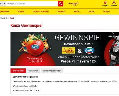 Netto und Kanzi Gewinnspiel Vespa a Primavera 125 3 V iGet ABS Motorroller